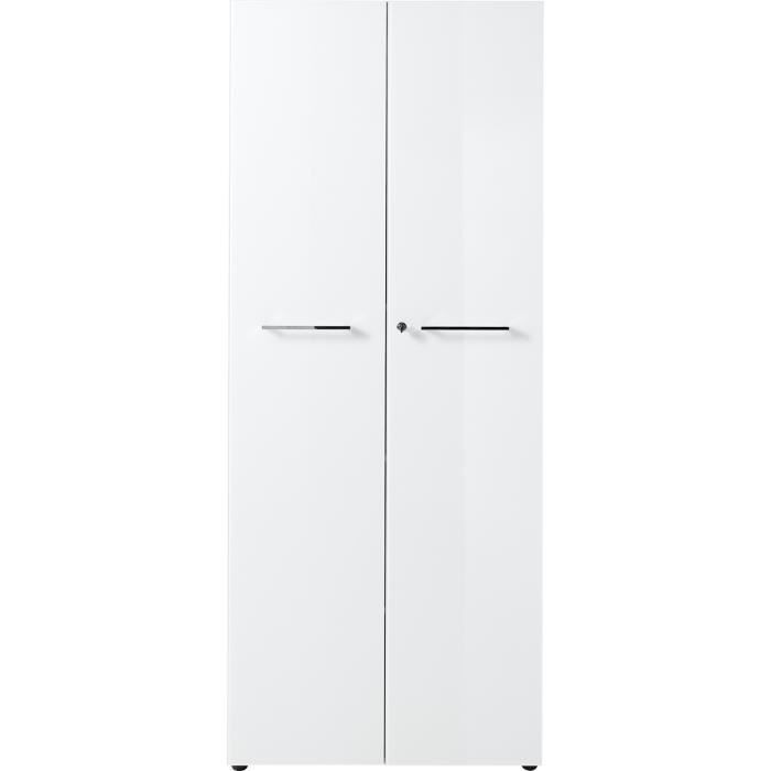 Armoire haute coloris blanc avec 2 portes - Dim : 80 x 196 x 37 cm