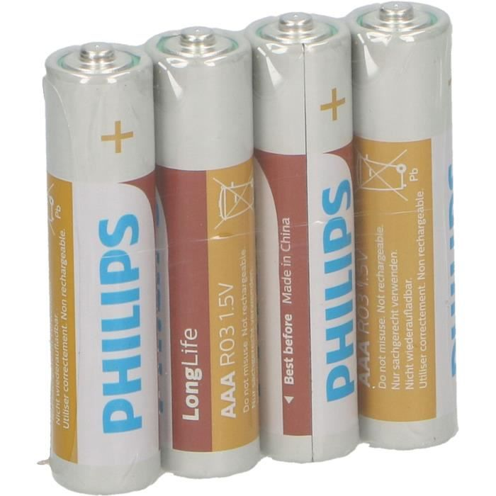 PHILIPS Piles R03 / AAA Longlife - 1,5 V - Pack de 4