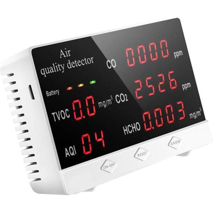 Détecteur de qualité de l'air TVOC HCHO CO2 PPM Compteur données en temps réel multifonctionnel intérieur