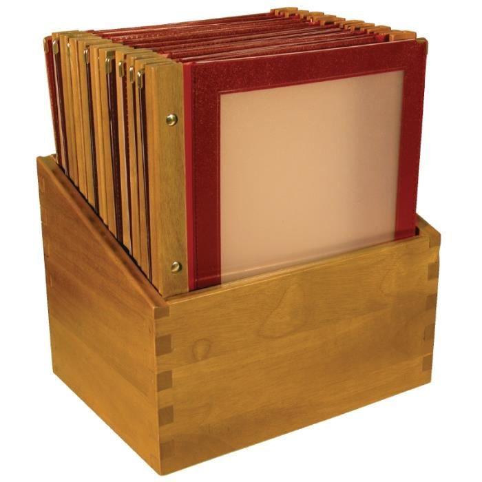 Porte-menu Securit avec la boîte en bois rouge A4