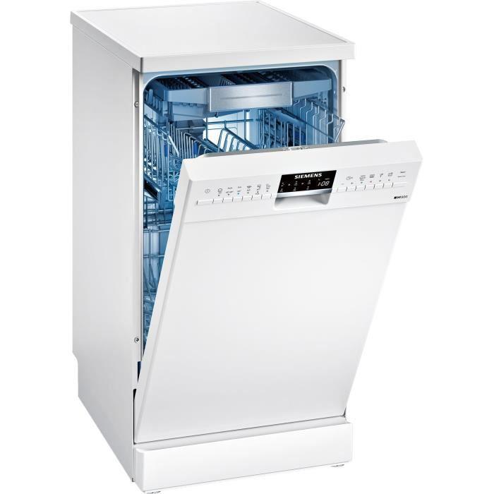 Siemens iQ500 SR256W01TE, Semi intégré, Blanc, Compact (45 cm), Blanc, boutons, 1,75 m