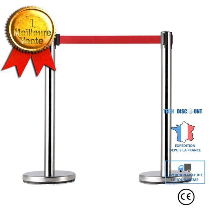 TD® Poteau de Guidage Barrière de Sécurité en Acier Inoxydable avec Sangle Ajustable Rouge de 2m pour Contrôler des Foules