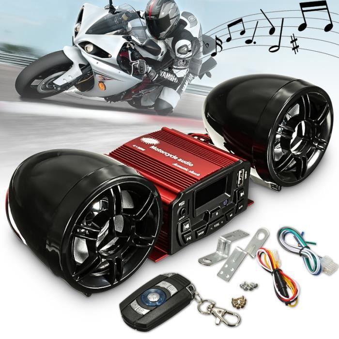 Klaxon Haut-Parleur Stéréo Télécommande SD USB MP3 FM Audio Radio Autoradio Moto
