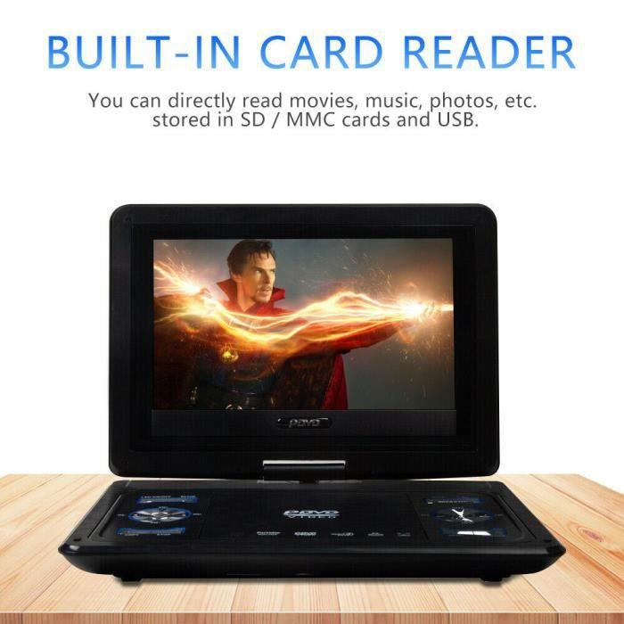 USLION Lecteur DVD portable - 270 ° Écran rotatif 10.1-- Noir, Lecteur mobile, 13,9- lecteur DVD portable HD standard européen noir