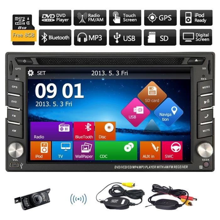 cam ra de recul sans fil 2 din lecteur dvd de voiture de navigation gps 8 go headunit. Black Bedroom Furniture Sets. Home Design Ideas