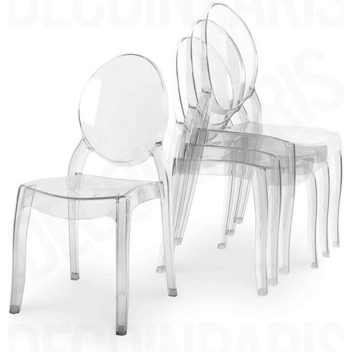 lot de 4 chaises transparent en plexi tolga achat vente chaise cdiscount. Black Bedroom Furniture Sets. Home Design Ideas