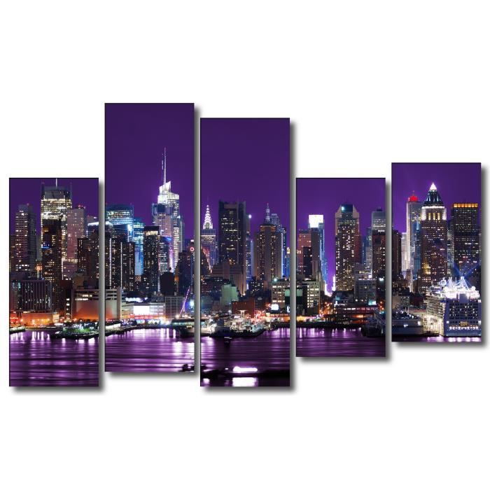 toile tableau cadre design moderne new york fond violet 32 150x100cm achat vente tableau. Black Bedroom Furniture Sets. Home Design Ideas