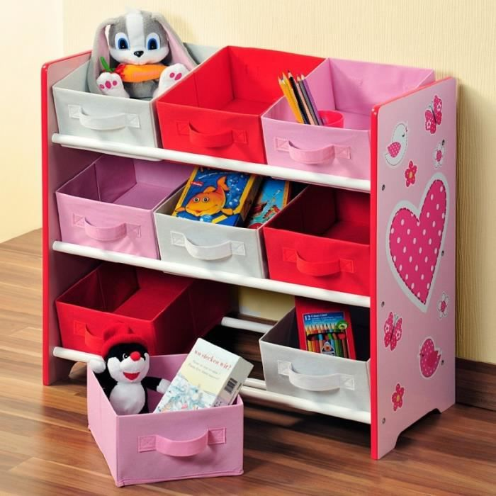 meuble tag re pour chambre d 39 enfant 9 paniers rose achat vente petit meuble rangement. Black Bedroom Furniture Sets. Home Design Ideas