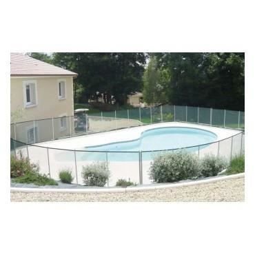 Barri re piscine beethoven blanche piquets gris 3 m tres achat vente cl - Barriere piscine beethoven ...