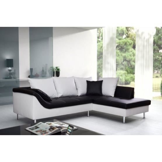 canap d 39 angle elvis mini noir et blanc droit achat. Black Bedroom Furniture Sets. Home Design Ideas