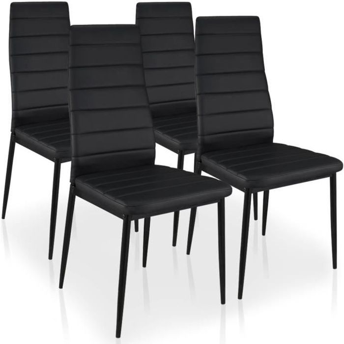 lot de 4 chaises stratus noir achat vente chaise m tal polyur thane cdiscount. Black Bedroom Furniture Sets. Home Design Ideas