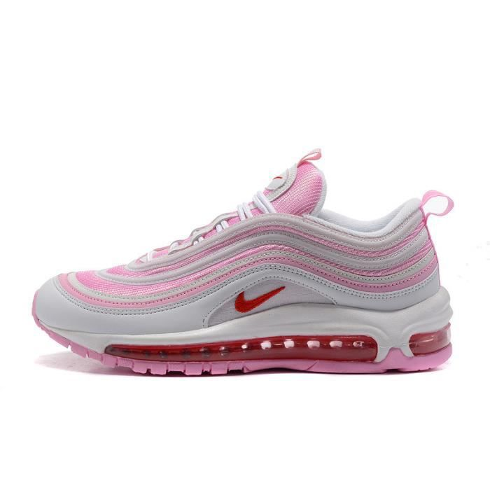 check out cd0e8 4f97e FEMME NIKE AIR MAX 97 OG QS BASKETS CHAUSSURES DE COURSE BLANC ROSE