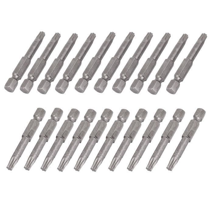 sourcingmap/® Embout T20 1//4 Hex 50mm queue magn/étique longue tournevis Torx 20pcs gris