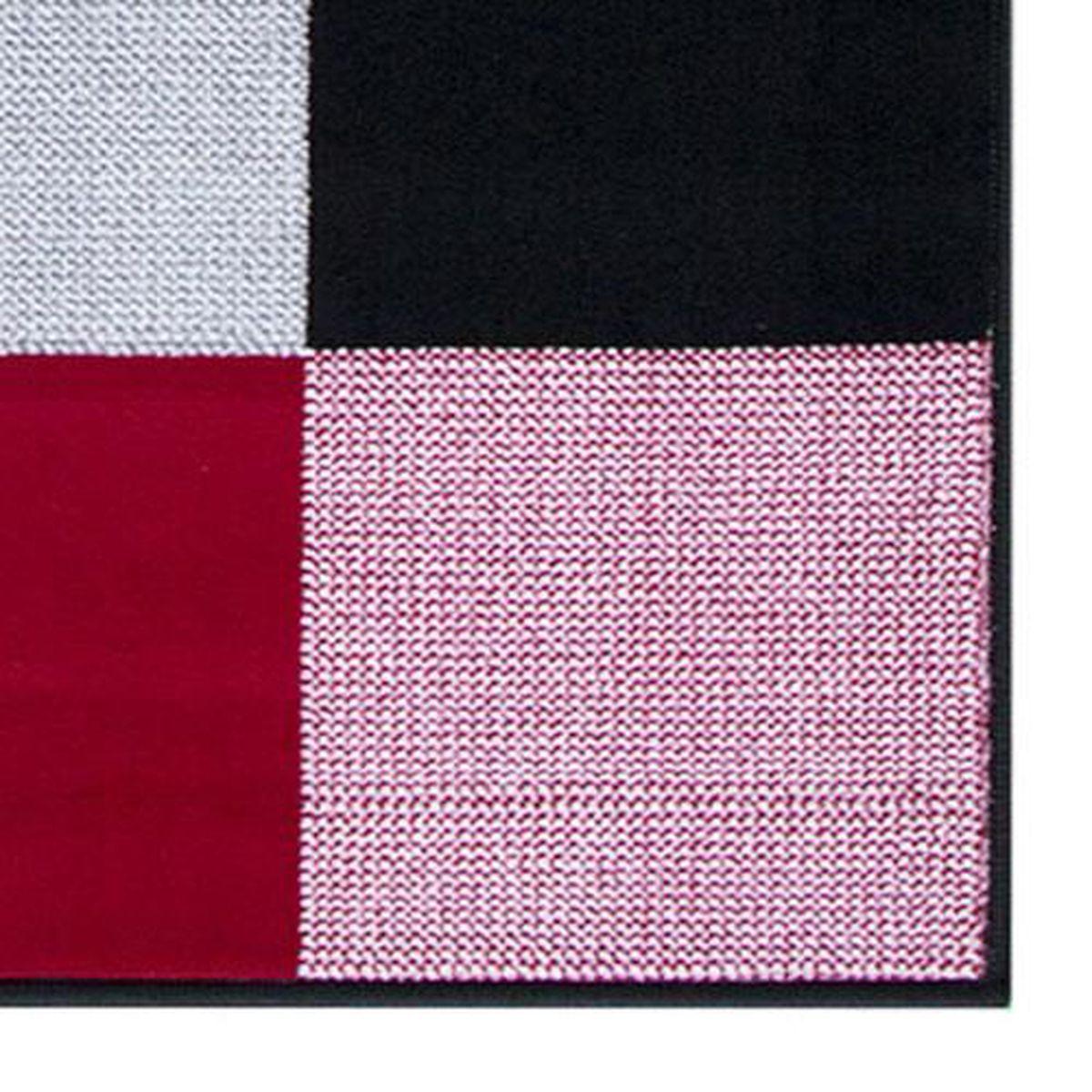 Salon Rouge Blanc Noir tapis salon moderne design carrés noir rouge blanc debonsol - 120x170cm