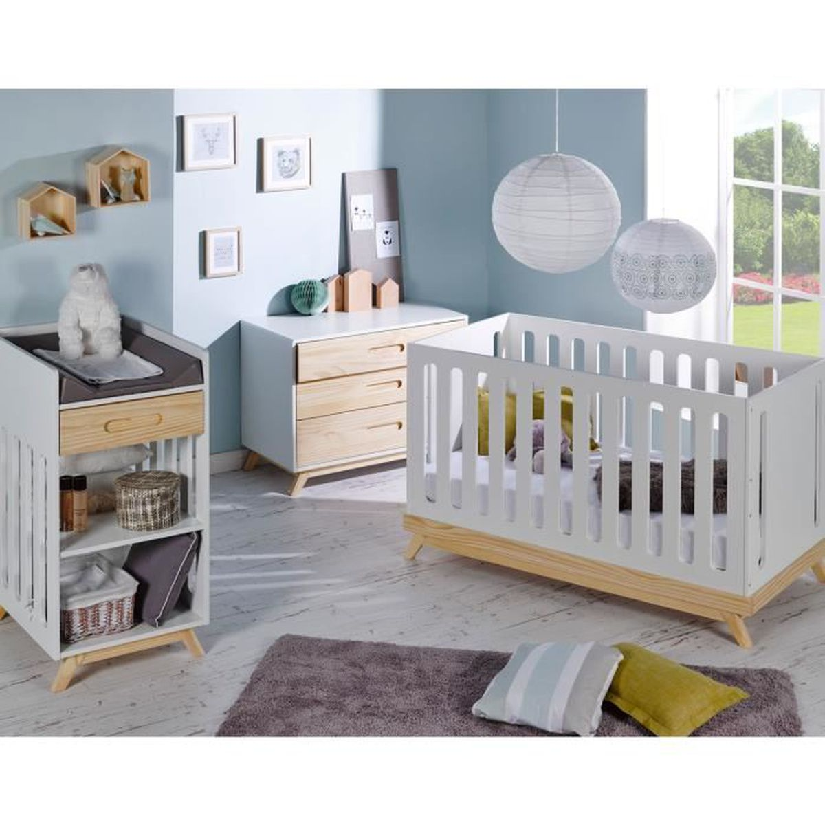 chambre bebe scandinave lit bebe evolutif 70x140 et. Black Bedroom Furniture Sets. Home Design Ideas
