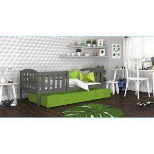 LIT COMPLET LIT ENFANT TÉO 90x190 GRIS VERT Livré avec tiroir,