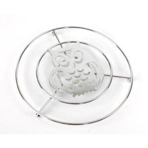 DESSOUS DE PLAT  Dessous de plat Hibou en métal chromé