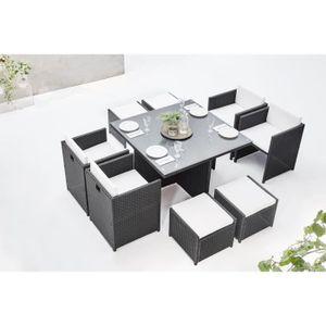 Ensemble table et chaise de jardin BOBOCHIC Family - Salon de jardin encastrable 8 pl