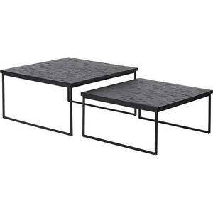 TABLE GIGOGNE Deux tables basses gigogne quadro 40x80x80 Noir