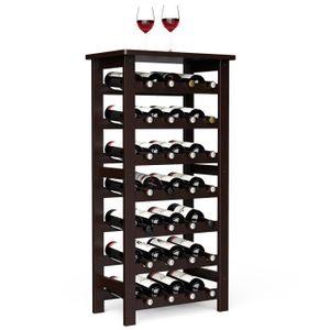 MEUBLE RANGE BOUTEILLE Casier à Vin en Bambou,Range bouteilles-7 Niveaux-