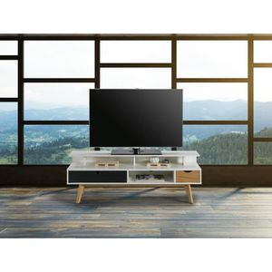 MEUBLE TV MURAL LISS Meuble TV 2 tiroirs - Blanc et gris anthracit