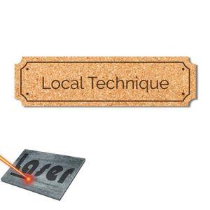 Plaque gravée autocollante 14,5x4cm Local Technique fond Or brossé