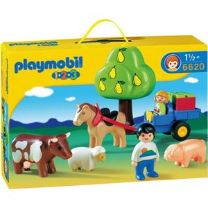 UNIVERS MINIATURE PLAYMOBIL 1.2.3. Enfants Charrette Animaux