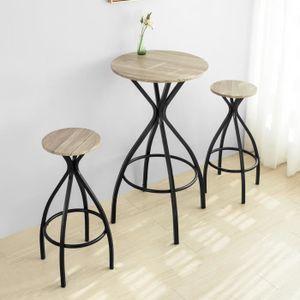 MANGE-DEBOUT SoBuy® OGT21-SCH Set de 1 Table + 2 Tabourets Ense