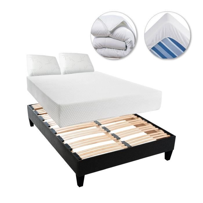 sensation matelas sommier 2 oreillers couette prot ge matelas 160x200 cm m moire de forme. Black Bedroom Furniture Sets. Home Design Ideas