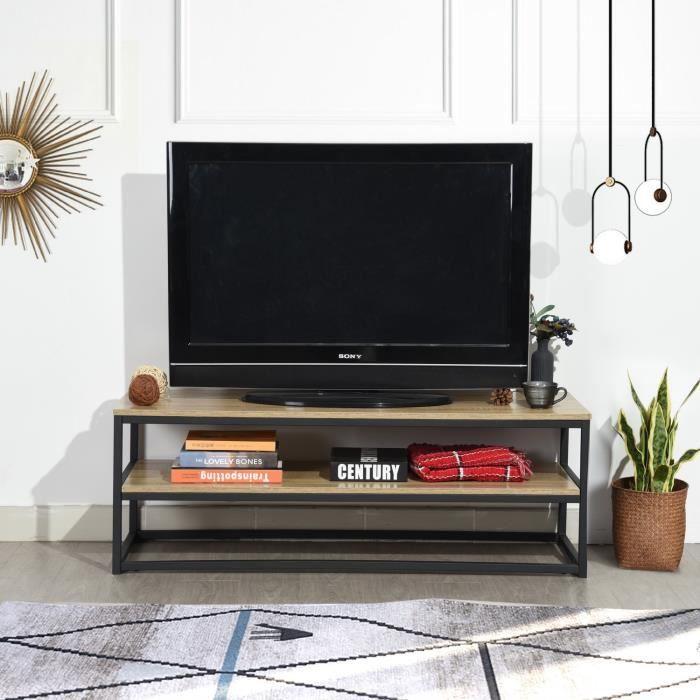 MEUBLES COSY Meuble TV Multifonction Table basse d'appoint 120x40x42cm Design 3 Tablettes en Panneau Bois Chêne et Métal Peint Noir