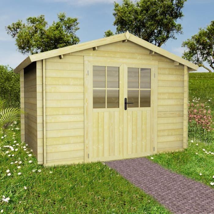 Abri de jardin pour bûches de bois 28 mm 3,1 x 3 m Bois massif -QNQ
