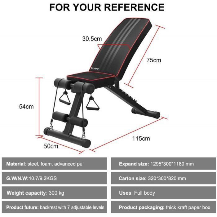 Banc de Musculation Pliable Multifonction Sit-up Fitness Supporter la capacité de 330lbs