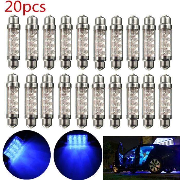 TEMPSA 20x 42MM C5W 8 LED Ampoule Voiture Lampe Plaque Xenon Navette Bleu Plafonnier Veilleuse Canbus