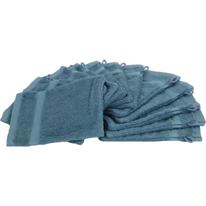 Lot de 12 gants de toilette Bleu pétrole coton bouclette éponge FLEUR