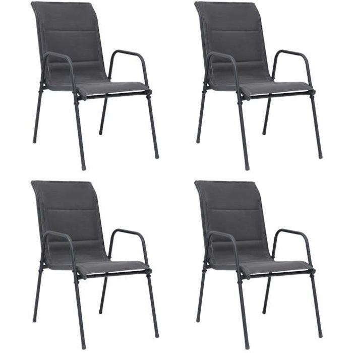 Lot de 4 Chaises empilables de jardin Chaise d'extérieur Contemporain - Fauteuil de Jardin Acier et textilène Anthracite :)7978