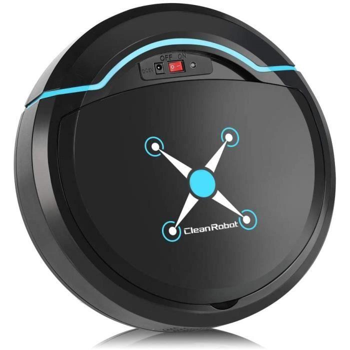 Robot de balayage domestique Aspirateur robot intelligent USB, adapté aux poils d'animaux, tapis à poils courts, sol dur (noir)