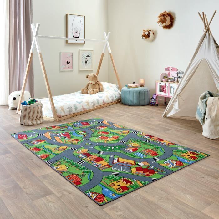 Tapis de Jeu Enfant 140x200cm, Little Village - Tapis Circuit Voiture - Lavable - Antidérapant - Carpet Studio