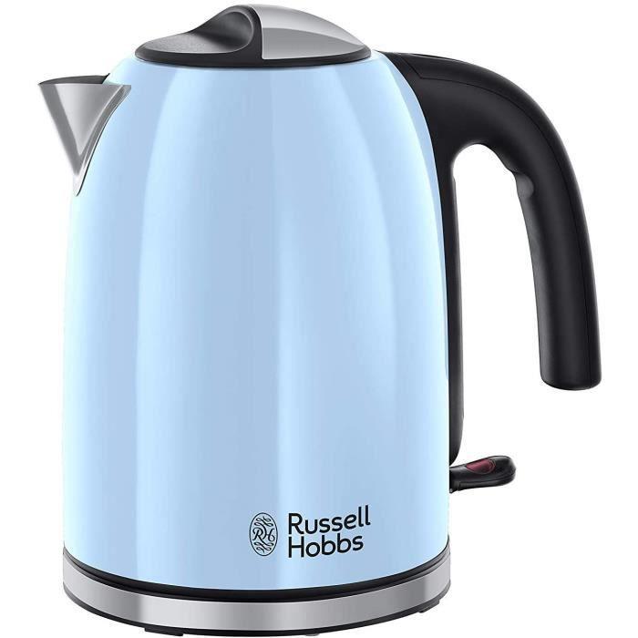 Russell Hobbs Bouilloire Familiale 1,7L, Ebullition Rapide, Filtre Anti-Calcaire Amovible Lavable - Bleu 20417-70 Colours Plus