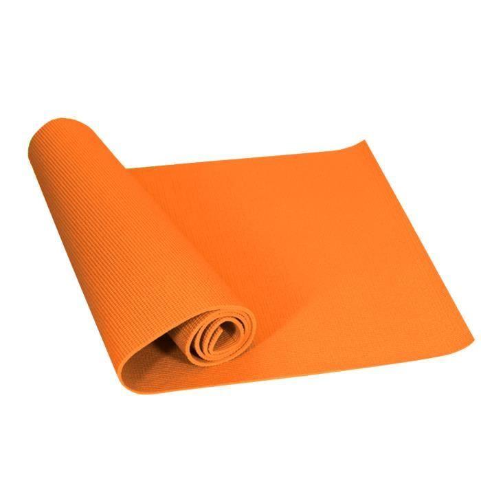 Yoga D'Exercice Antidérapant Entraînement Pilates Tapis de Yoga avec Sangle de Transport Orange 173X61X0.6cm