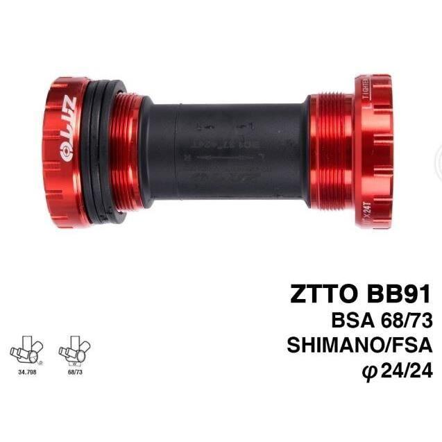 Pièce Détachée,ZTTO BB91 supports inférieurs roulement externe pour pédalier Shimano Prowheel 24mm - Type BB91 Red