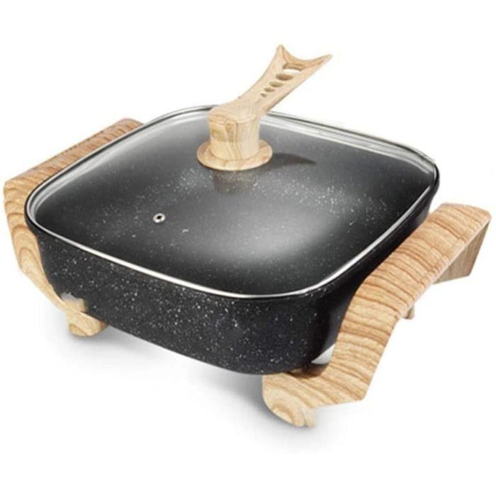 FUDIV Antiadhésif Wok électrique multi-fonction électrodomestiques Cuisinière électrique Hot Marmite Barbecue Une cuisson à la vapeu