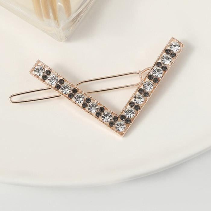Mode pince à cheveux épingle métal géométrique cristalhairband cercle Hairgrip en forme de V Barrette filles s DY8478