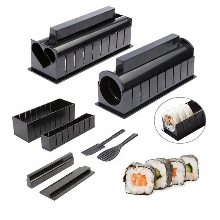 10PCS Kit Sushi Maki Complet, Cuisine Machine Sushi Maker Ustensiles avec Couteau + Tapis Rouleaux pour Makis/Sushis Bien Ronds