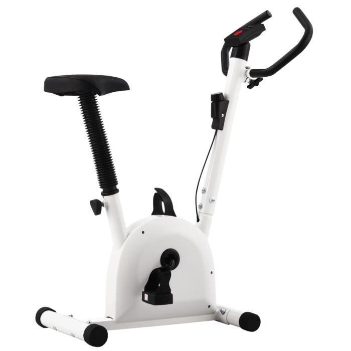 2662MAISON BEST•Vélo d'appartement avec résistance à courroie Blanc Taille:90 x 38 x 103 cm