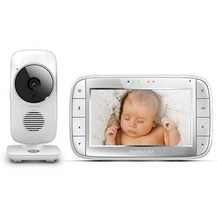 Motorola MBP 48 Babyphone Vidéo Avec Grand Ecran 5.0-, Eco mode, Vision Nocturne Et Capteur De La Température Ambiante, Blanc