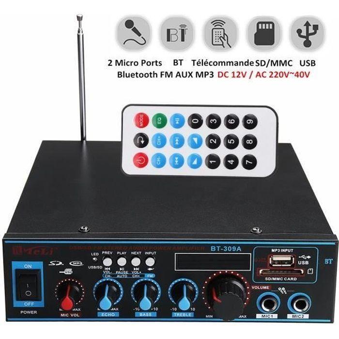 Bluetooth Amplificateur Hi-Fi Stéréo 12V-220V FM USB SD MP3 Audio Lecteur - Ampli Maison Voiture Auto 400W+400W