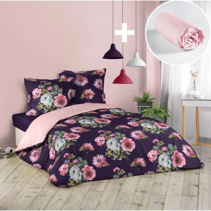 CDaffaires Pack parure de couette 220x240 cm Flower life + drap housse 140x190 Rose