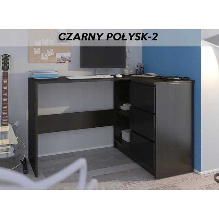 REX W - Bureau d'angle 3 tiroirs - 112x87x76 cm - Table d'ordinateur - Table de travail - Wengé Noir
