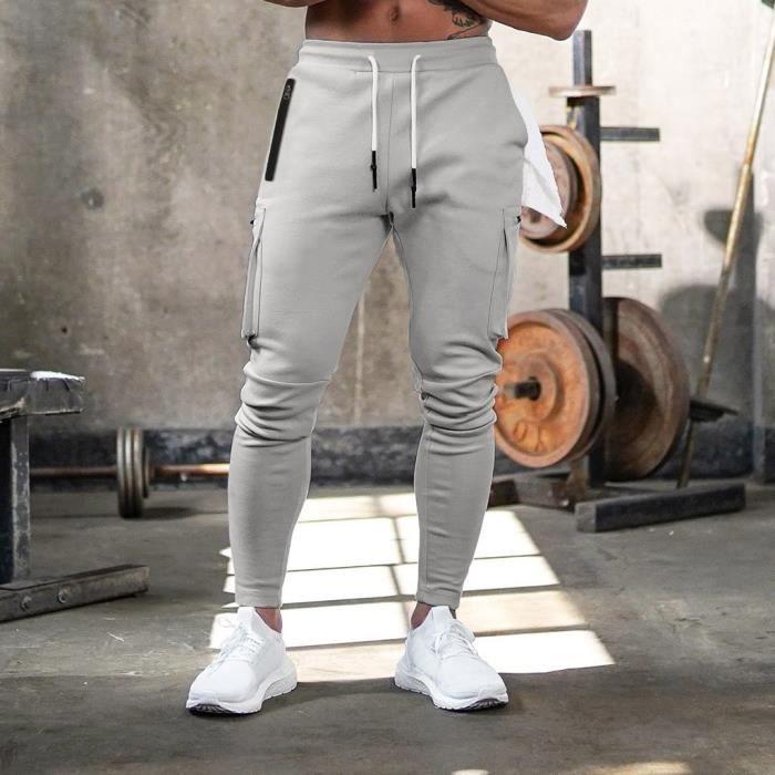 Hommes Sport Jogging multi-poches Camouflage culturisme longues Pantalons Pantalons gris