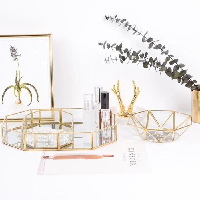 plateau de rangement en verre en laiton rétro nordique plateau organisateur de maquillage en verre polygone doré